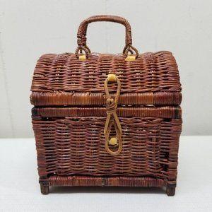 Wicker Rattan Brown Mini Trunk Chest Treasure Box